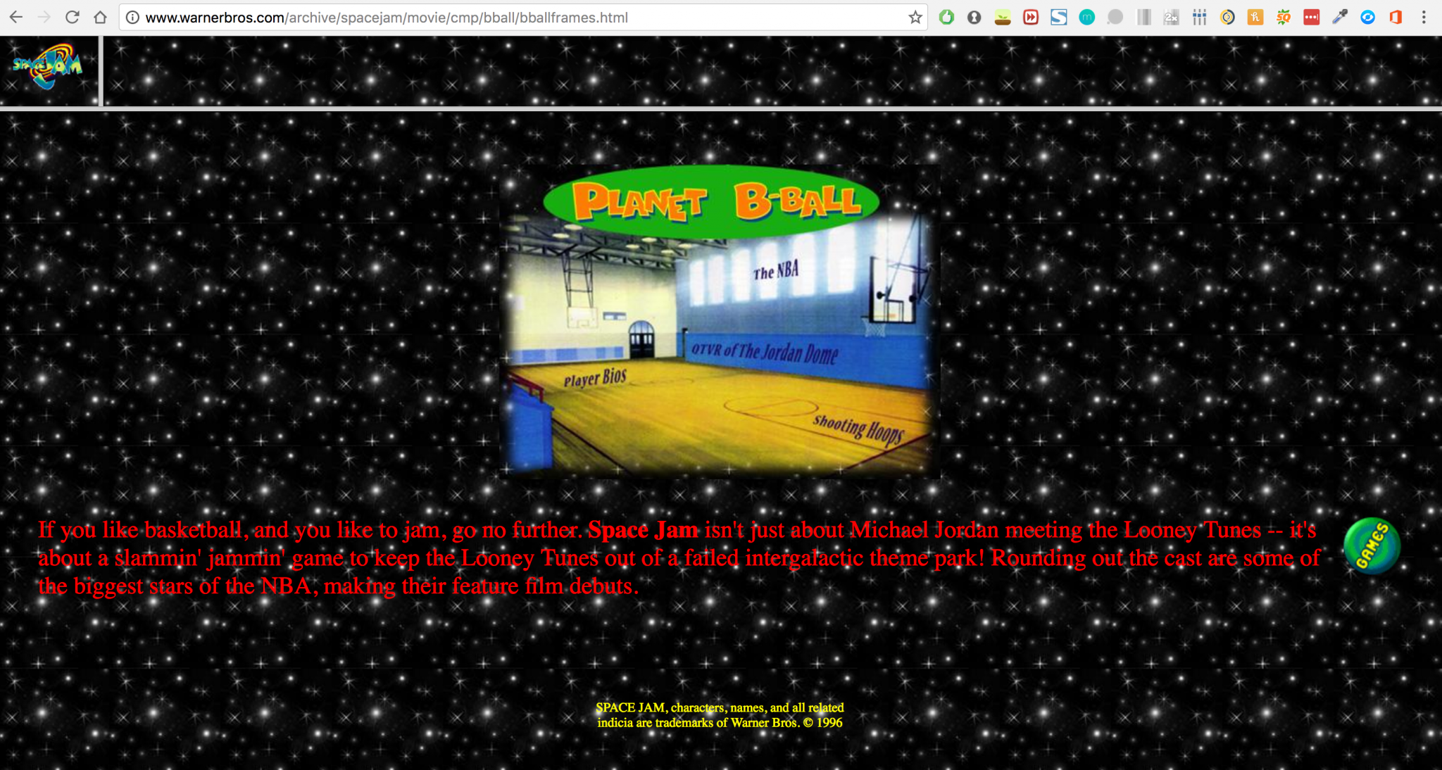 Retro Space Jam Website